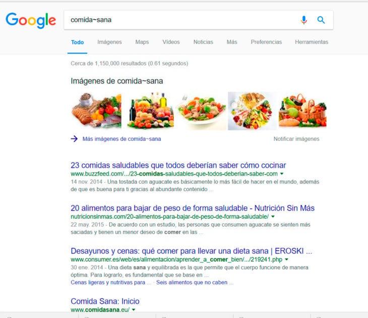 Búsqueda en Google sobre comida sana