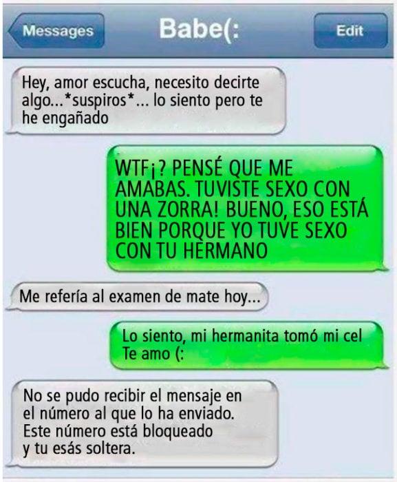 Mensaje de texto entre novia infiel y su novio fiel