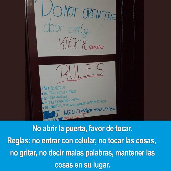 reglas para la habitación