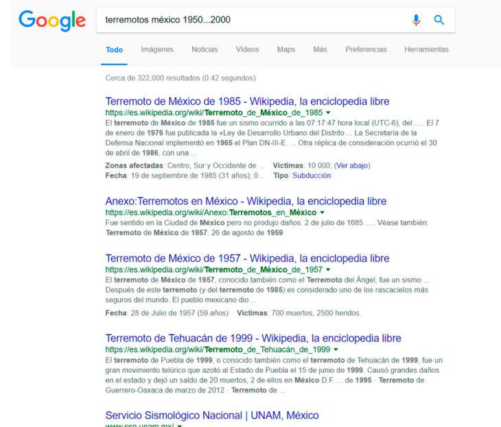 Búsqueda de terremotos en México ocurrido de 1950 al 2000