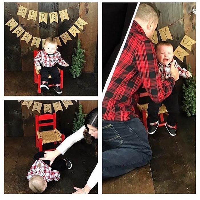 niño sllora porque le tratan de tomar una foto navideña