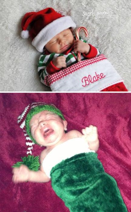 bebé llorando dentro de un calcetín navideño