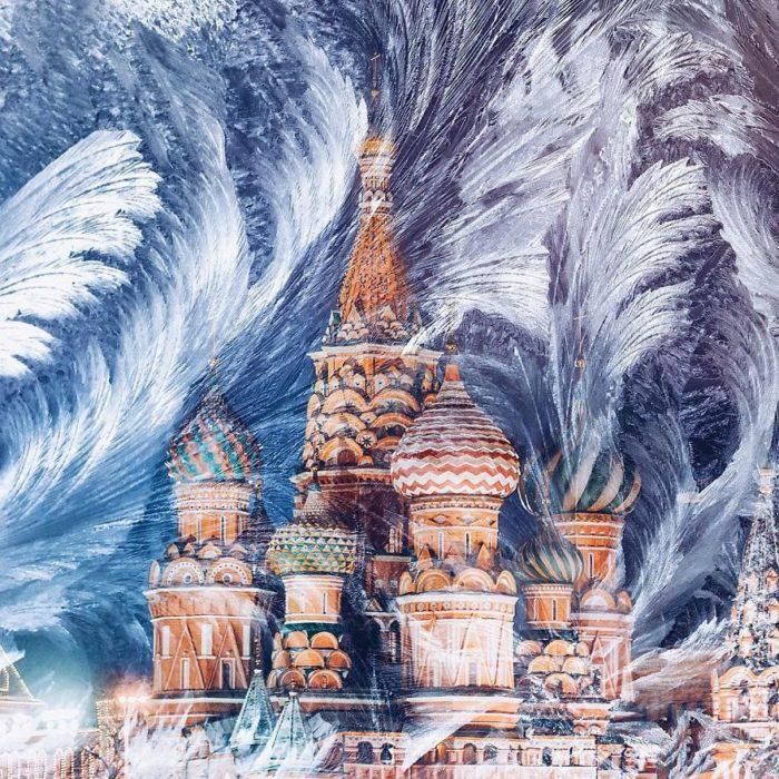 edificio ruso en invierno