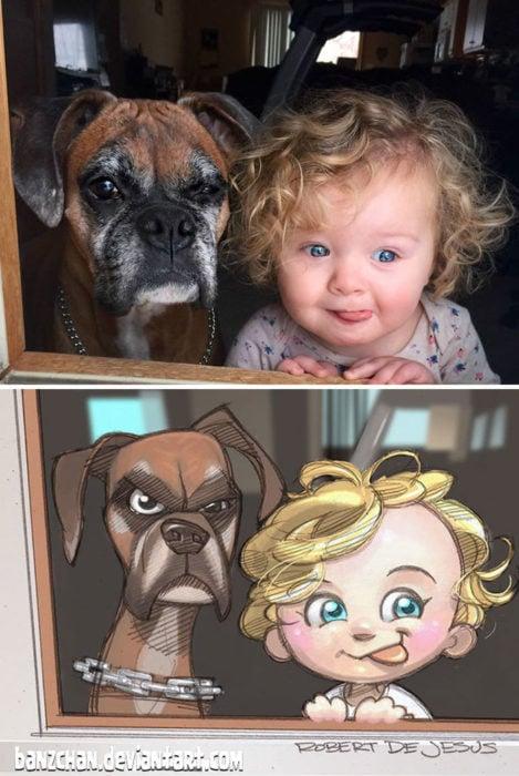 niña y su perro convertidos en anime