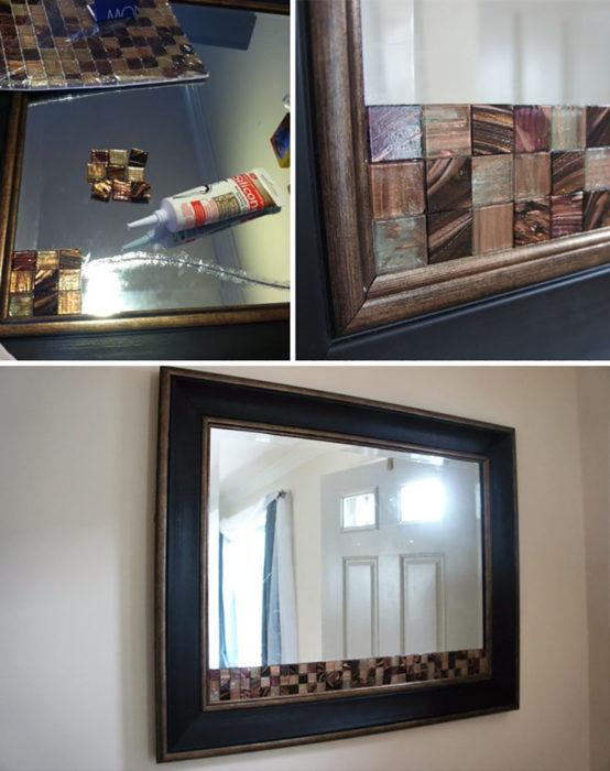 espejo con azulejos pegados