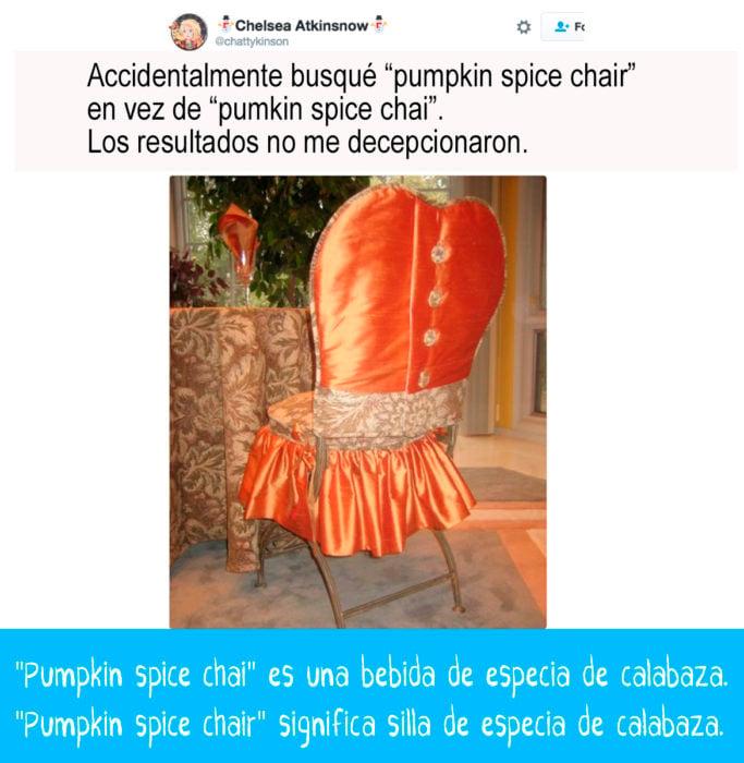 silla forrada con tela anaranjada