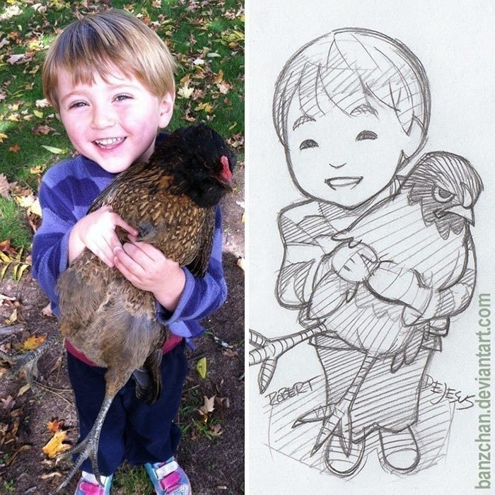 niño cargando un ave es convertido en anime