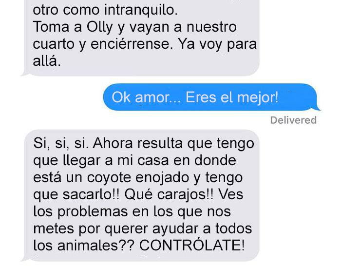 Mensaje de texto mujer bromea a su esposo - enciérrense en el cuarto