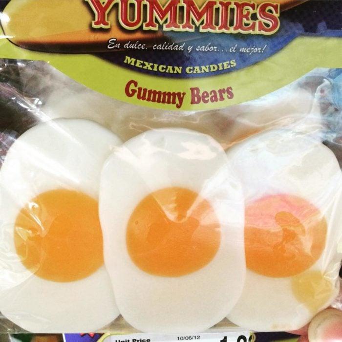 gomitas dulces de huevo estrellado