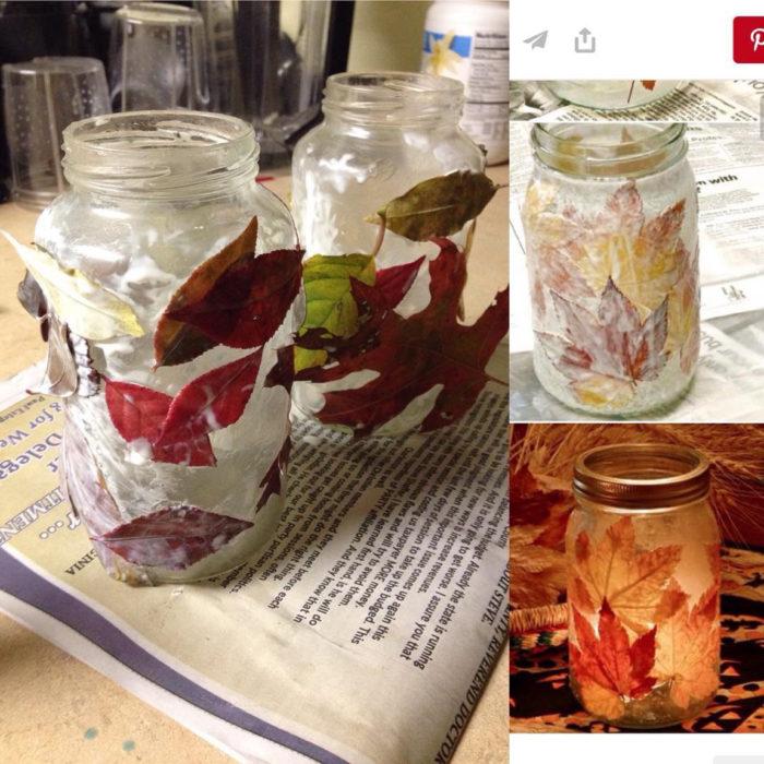 frasco con hojas pegadas