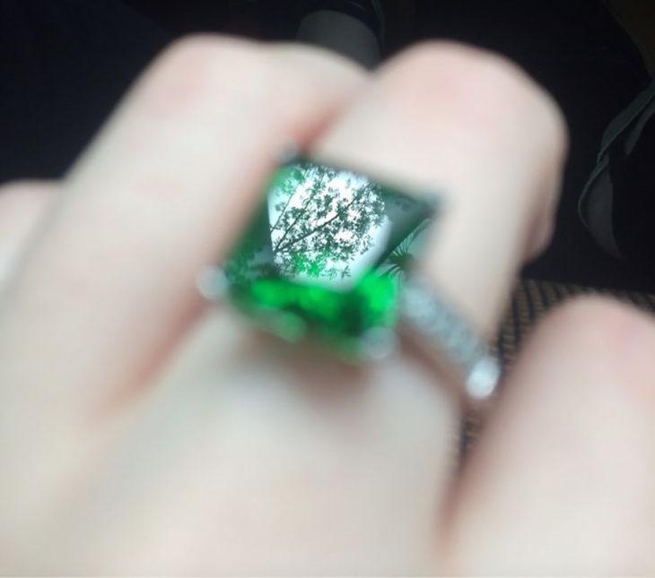 reflejo de un árbol en un anillo