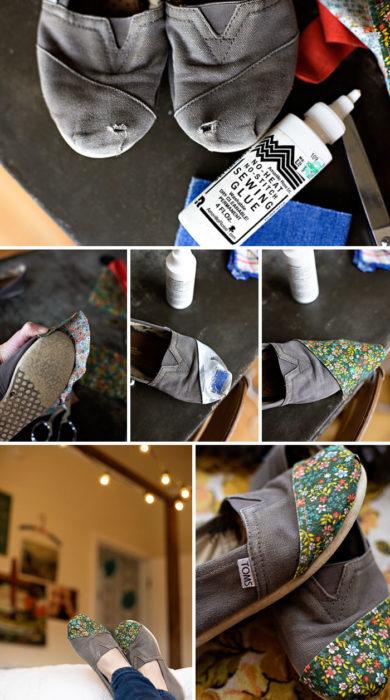 zapatos rotos arreglados con un pedazo de tela floreada
