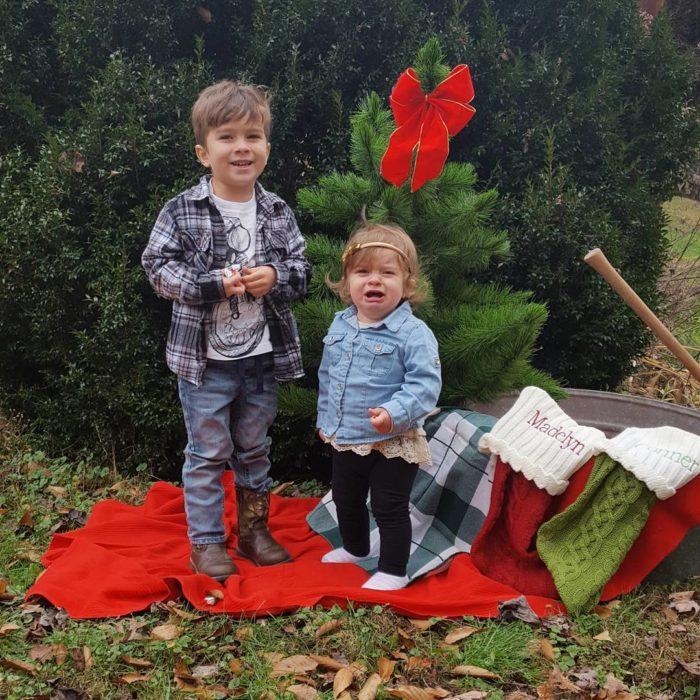 foto navideña para niños en exterior