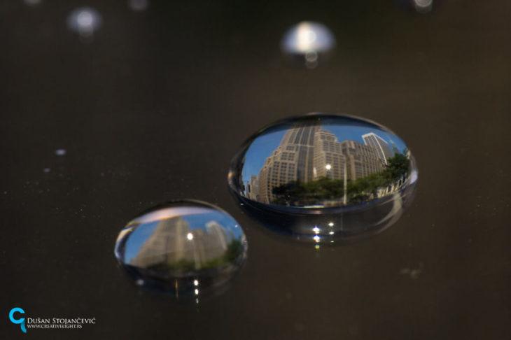 foto de manhatan tomada en gotas de agua