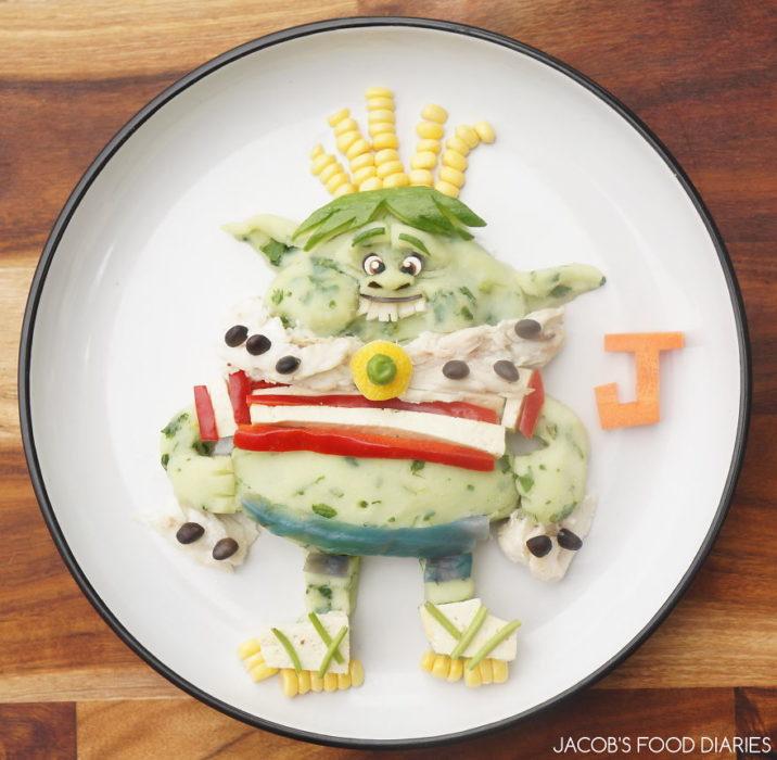 príncipe troll hecho de comida