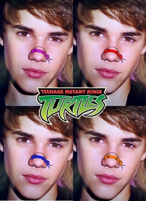 justin bieber con tortuga ninja dibujada en la nariz