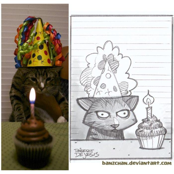 gato en su cumpleaños es convertido en anime
