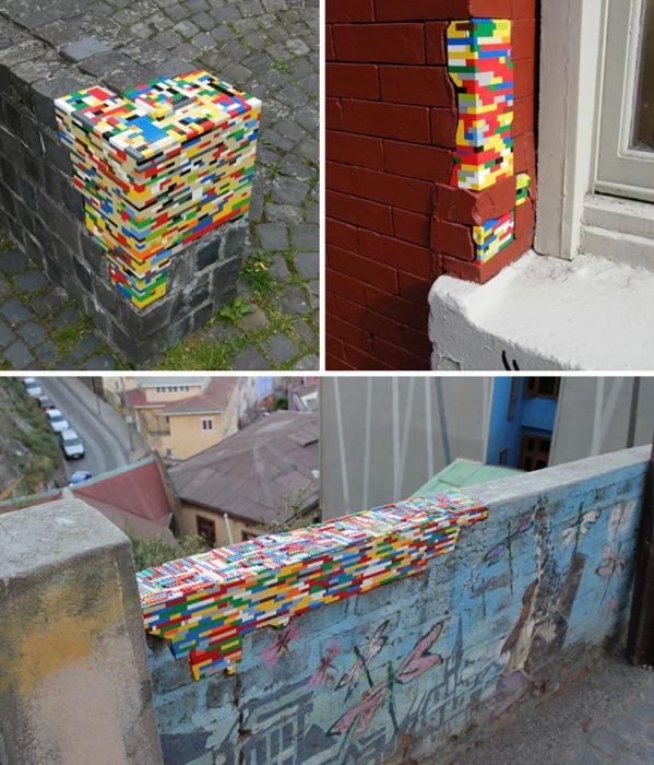 legos en agujeros de paredes