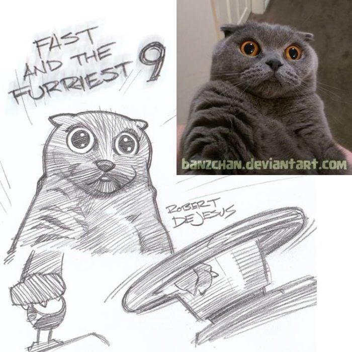 gato asustado convertido en anime