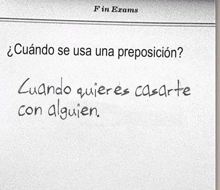 respuesta graciosa a cuestionario sobre preposiciones