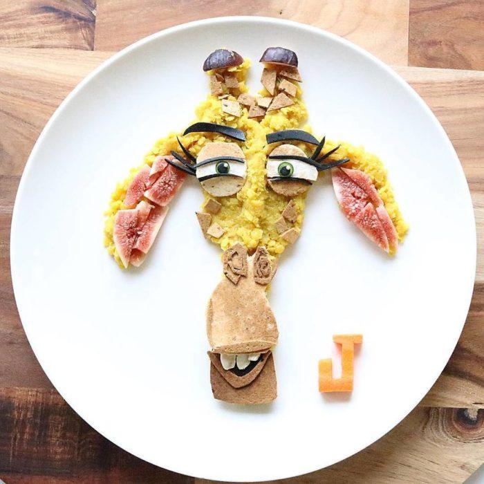 melman de Madagascar hecho de comida