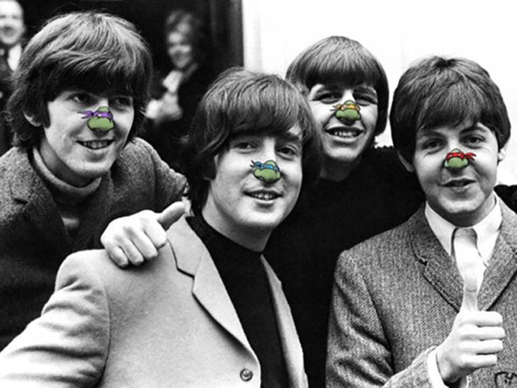 the beatles con una tortuga ninja dubujada en su nariz