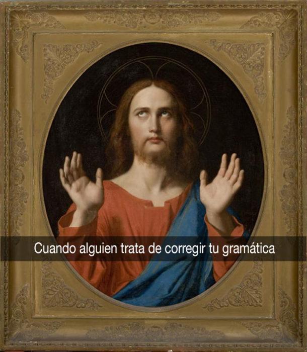 jesucristo con las manos al aire