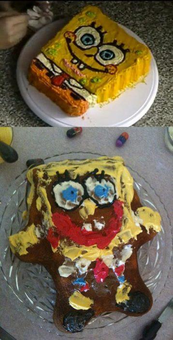 pastel de bob esponja mal hecho