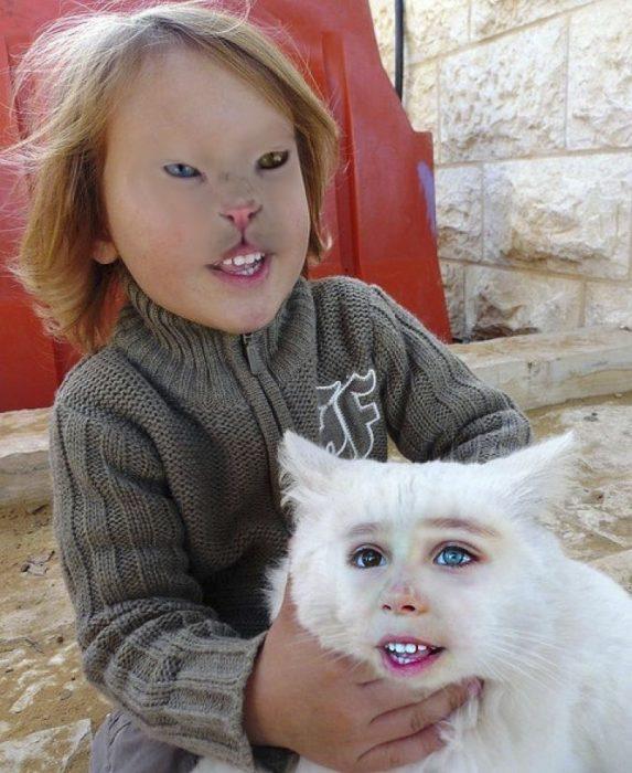 faceswap de niña y gato