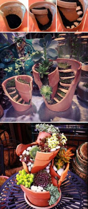 maceta quebrada convertida en jardín de hadas