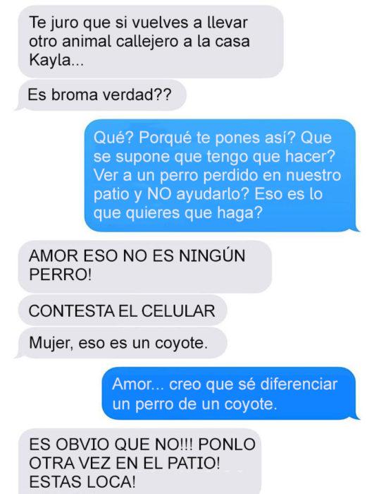 Mensaje de texto mujer bromea a su esposo - eso es un coyote