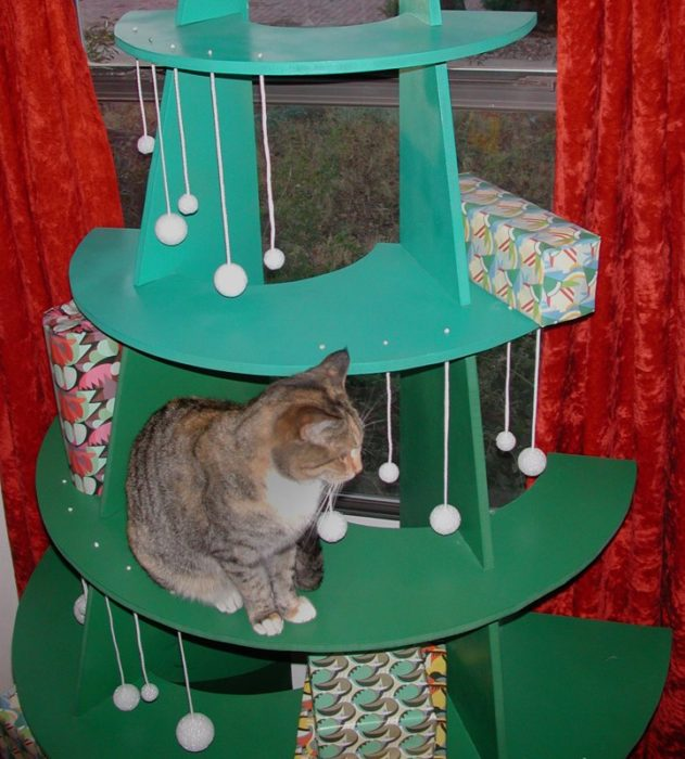 árbol de navidad para gato