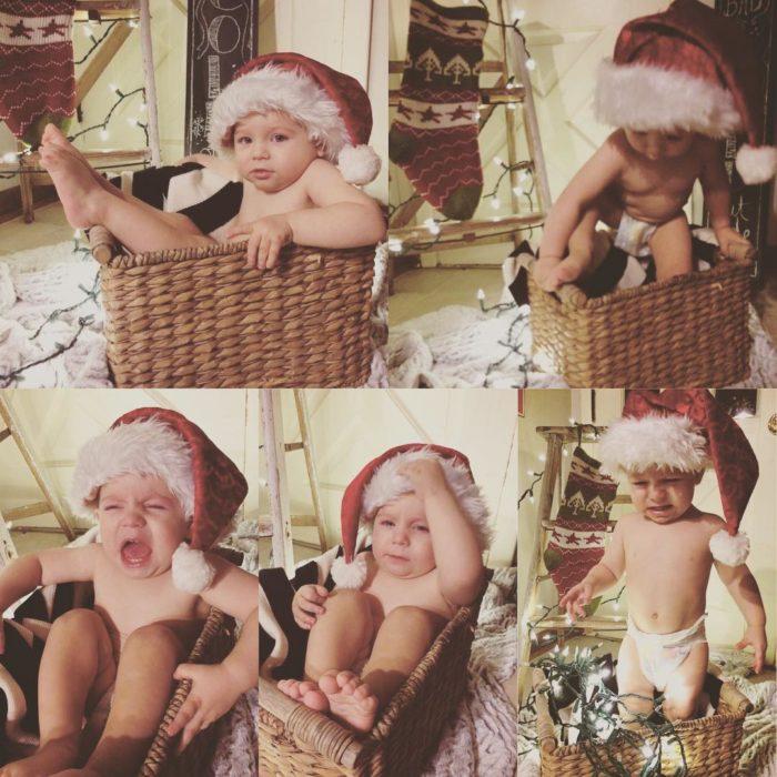 niño enojado porque le toman fotos navideñas