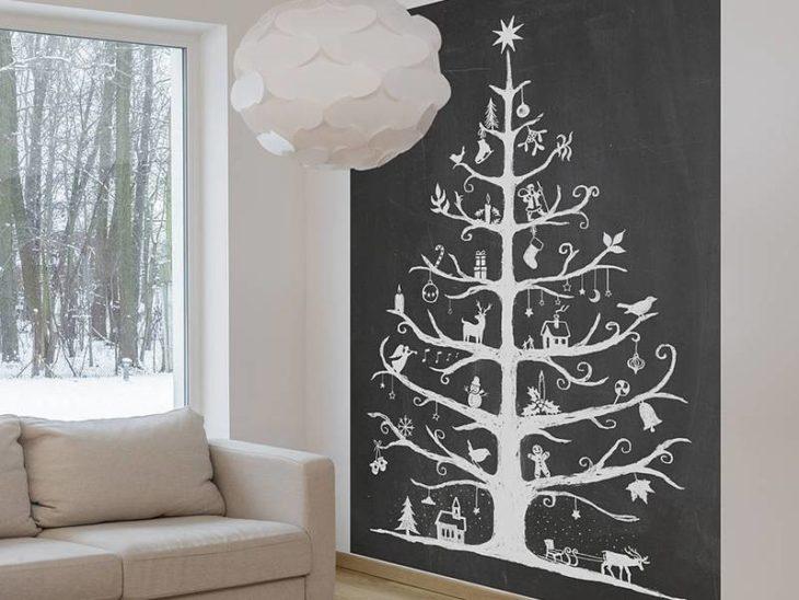 árbol de navidad pintado en la pared