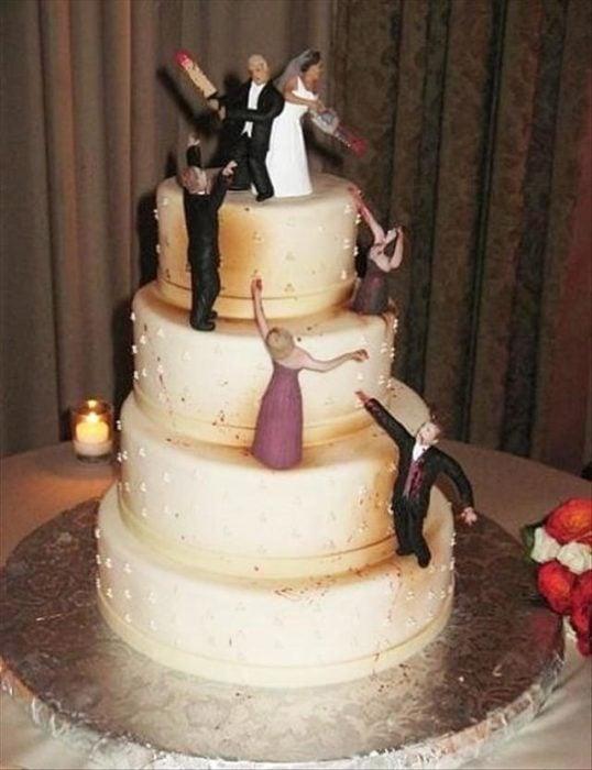 pastel de boda de ataque zombie