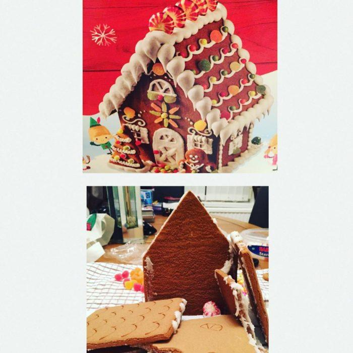 arriba casa de galletas, abajo casa de galletas mal hecha