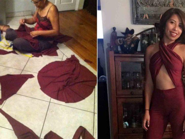 mujer cose al lado muchacha vestida de selena
