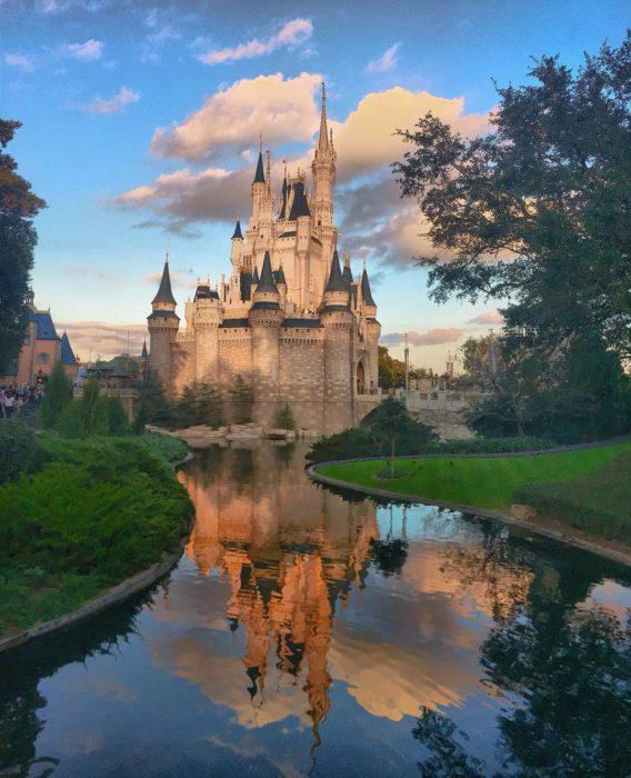 reflejo en agua de un castillo