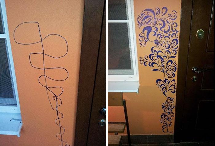 pared borroneada es reparada con un dibujo