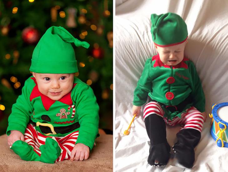 niño vestido de elfo expectativa versus realidad