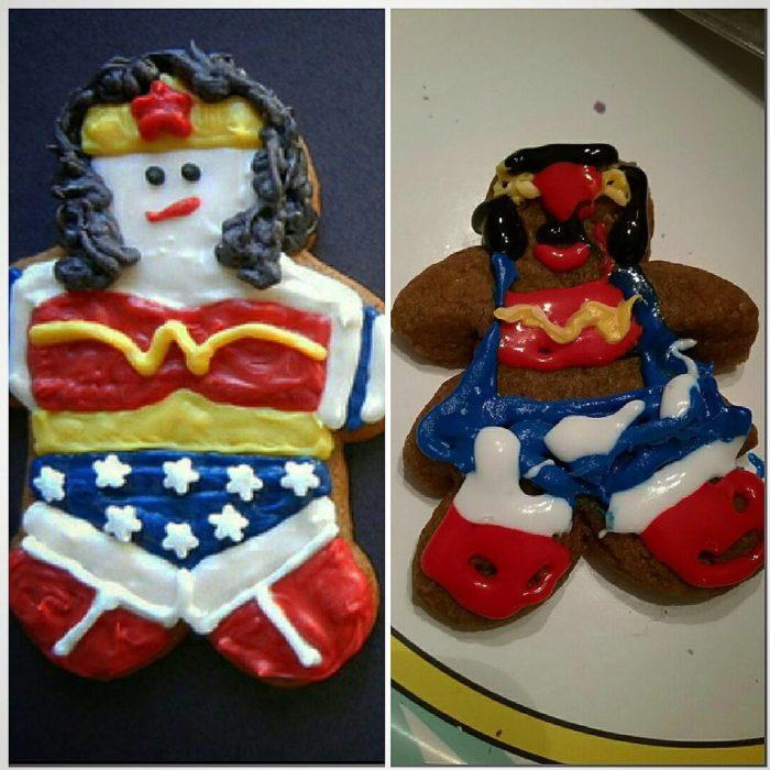 galleta de la mujer maravilla, expectativa versus realidad