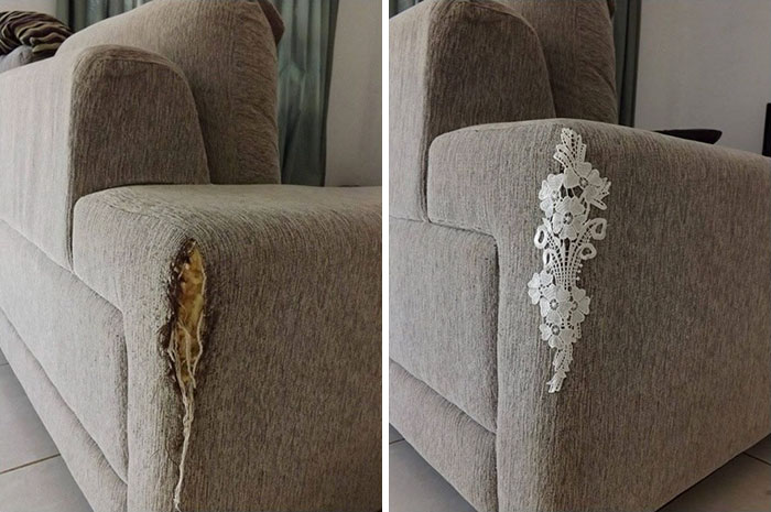 encaje en rasgadura de sofa