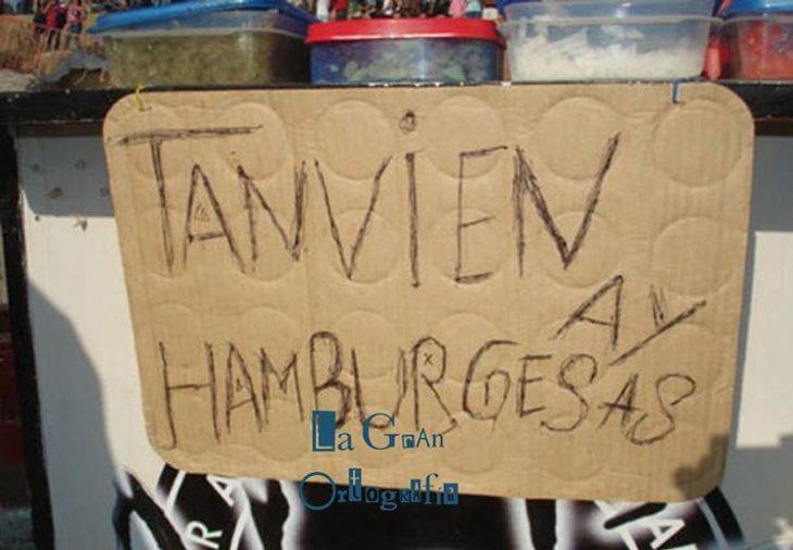 cartel con faltas ortográficas dice tanvien ay