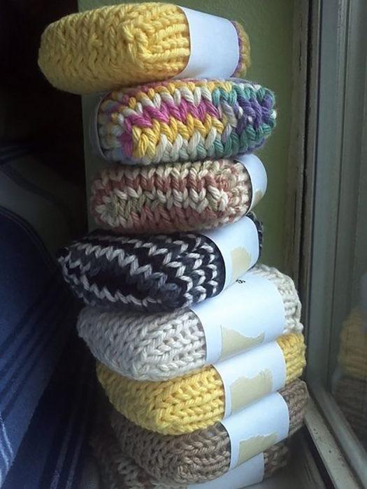 calcetines tejidos para jabón
