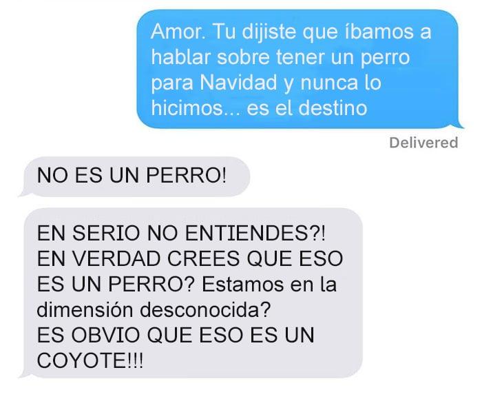 Mensaje de texto mujer bromea a su esposo - no es un perro!