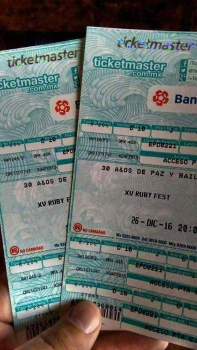 boletos para los xv de rubí