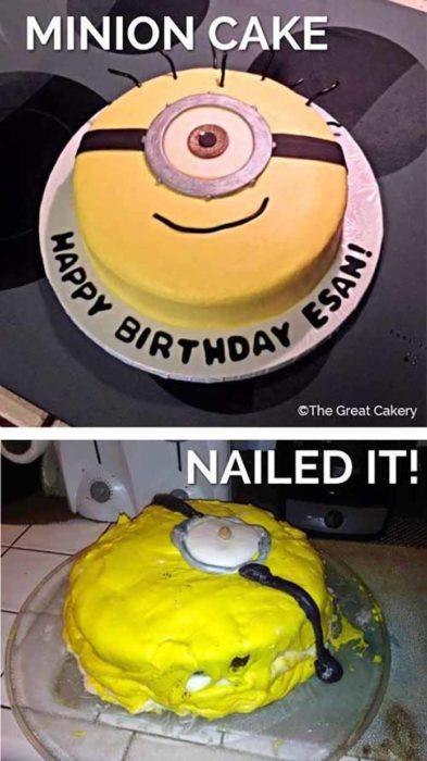 pastel de minion que salió mal