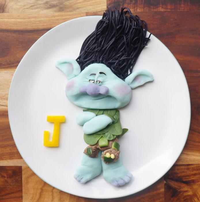 troll hecho de comida