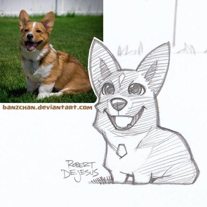 perro corgi convertido en anime