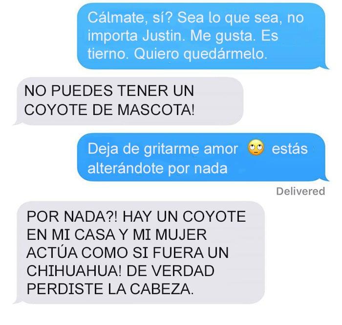 Mensaje de texto mujer bromea a su esposo - no puedes tener un coyote de mascota